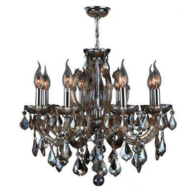 Catherine Collection 6-Light Polished Chrome and Golden Teak Crystal Chandelier