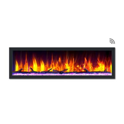 64 in. Cascade Flush-Mount LED Electric Fireplace in Black
