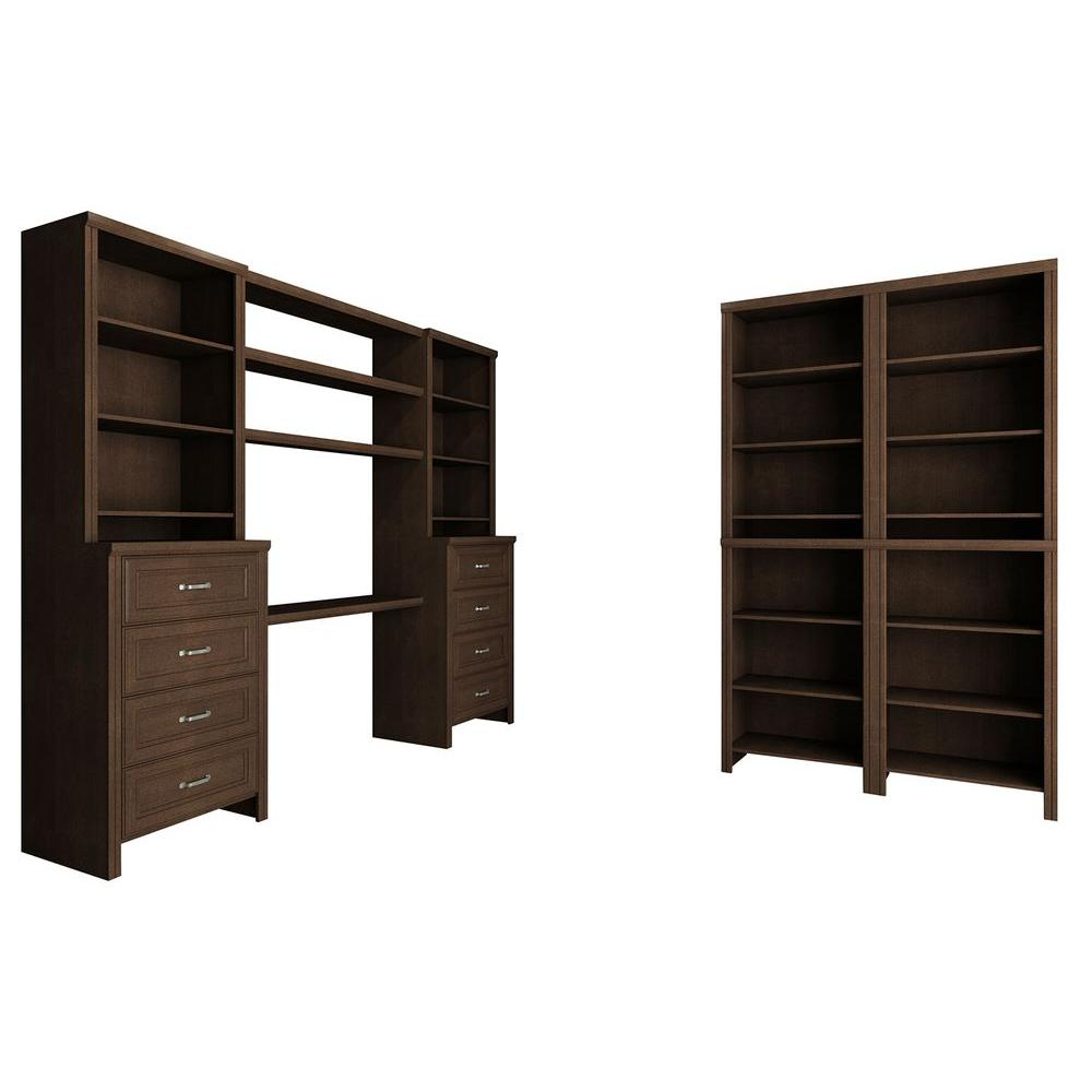 ClosetMaid Impressions 19.65 in. D x 148 in. W x 83 in. H Chocolate Office Laminate Closet System Kit (20-Piece)