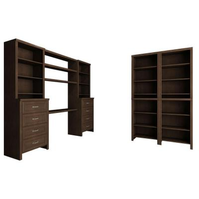 Impressions 19.65 in. D x 148 in. W x 83 in. H Chocolate Office Laminate Closet System Kit (20-Piece)