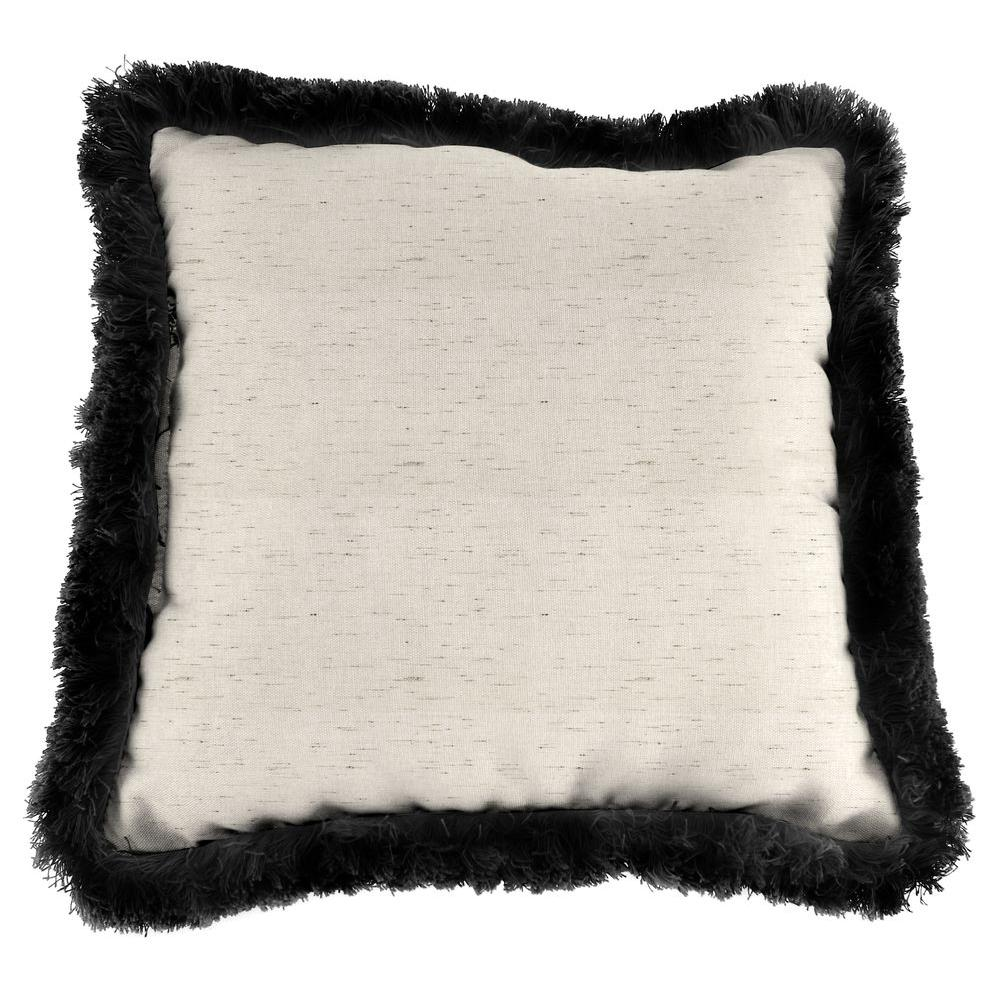 Jordan Manufacturing Sunbrella Frequency Parchment Square Outdoor Throw Pillow with Black Fringe