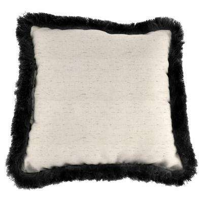 Sunbrella Frequency Parchment Square Outdoor Throw Pillow with Black Fringe
