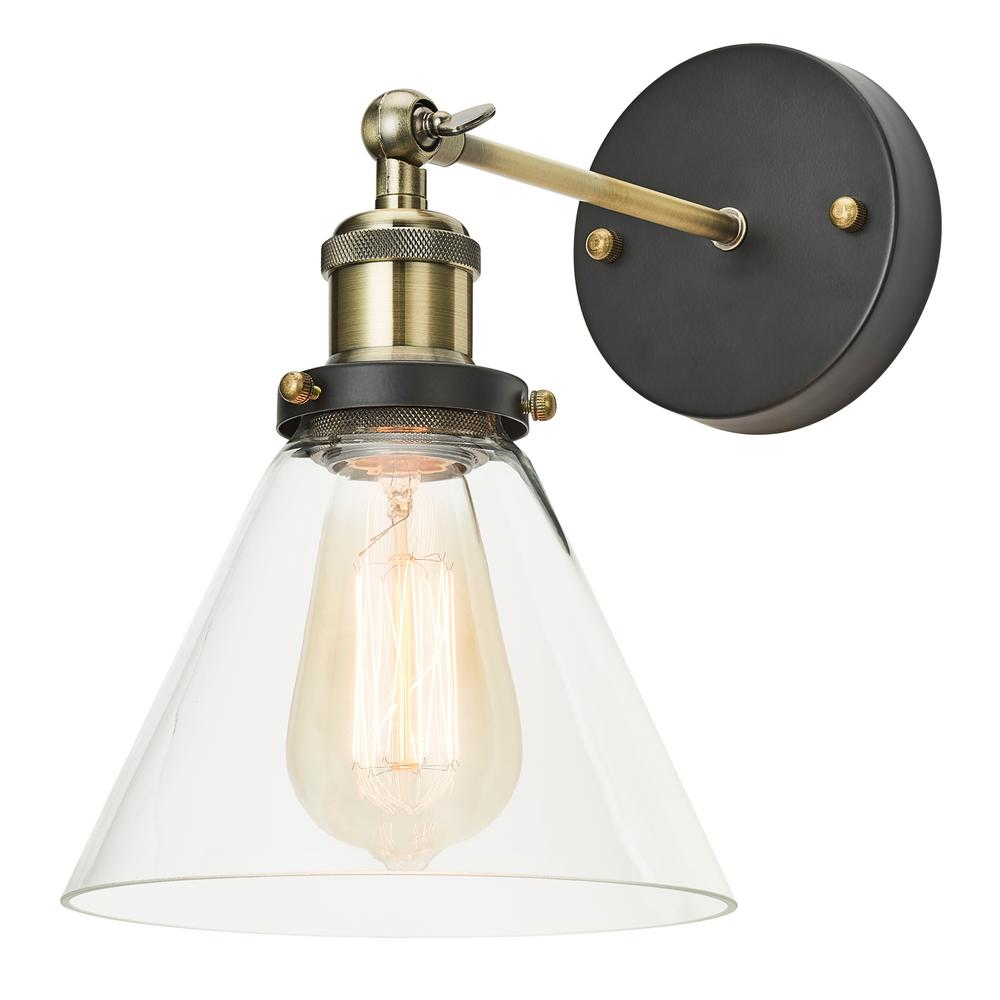 Home Luminaire 1-Light Antique Brass Adjustable Sconce with Clear Glass Shade