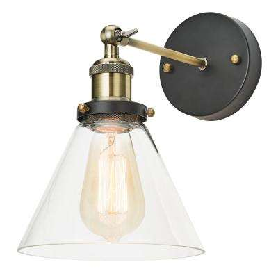 1-Light Antique Brass Adjustable Sconce with Clear Glass Shade