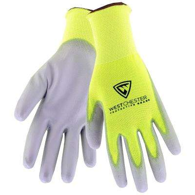 Touch Screen Hi-Vis Large Yellow PU Palm Coated Nylon Gloves