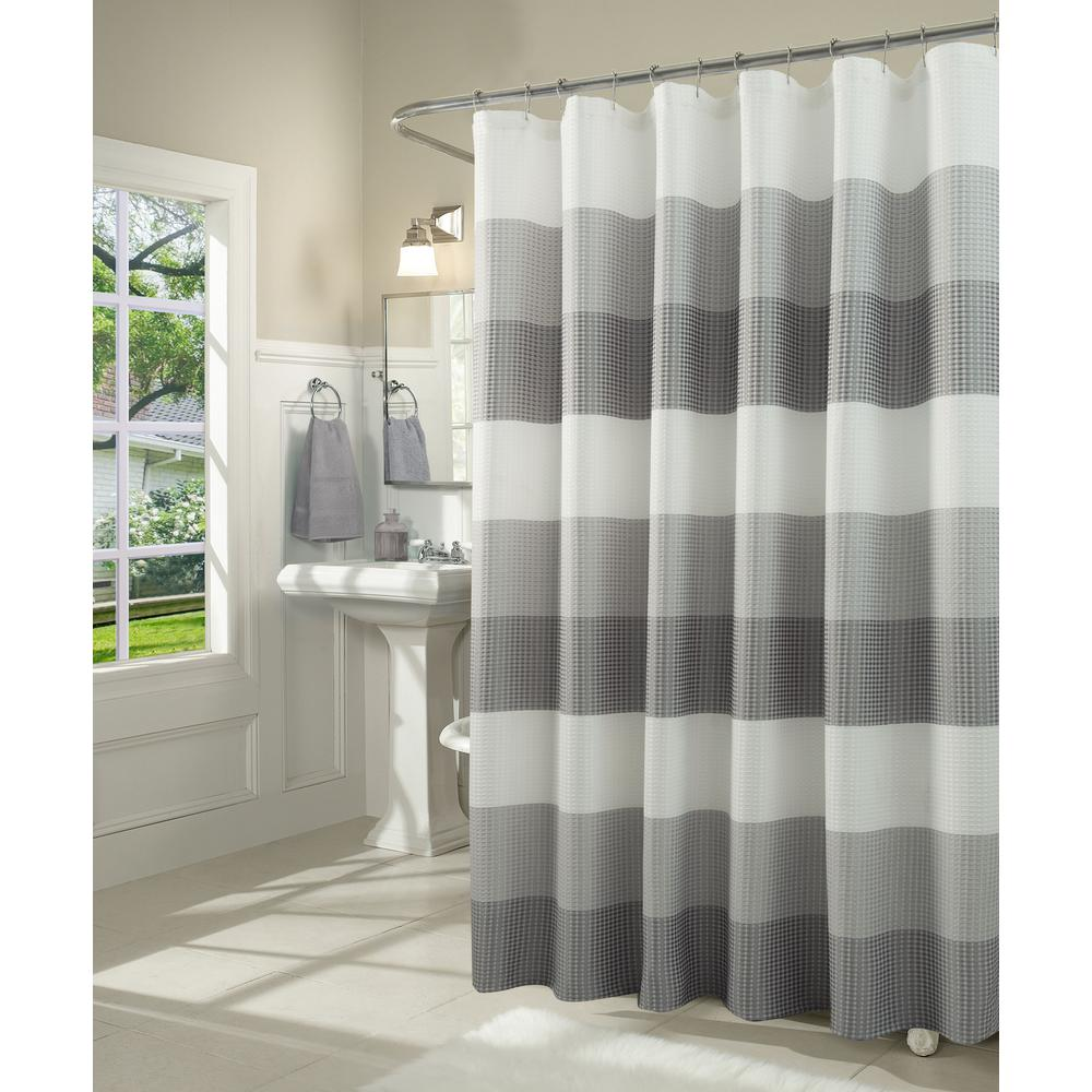Dainty Home Ombre 72 In Gray Waffle Weave Fabric Shower Curtain OMWSCGR