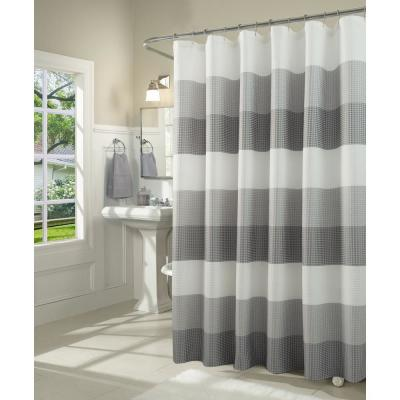 Ombre 72 in. Gray Waffle Weave Fabric Shower Curtain