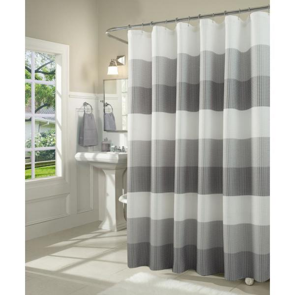 Dainty Home Ombre 72 in. Gray Waffle Weave Fabric Shower Curtain