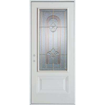36 in. x 80 in. Traditional Brass 3/4 Lite 1-Panel Prefinished White Right-Hand Inswing Steel Prehung Front Door