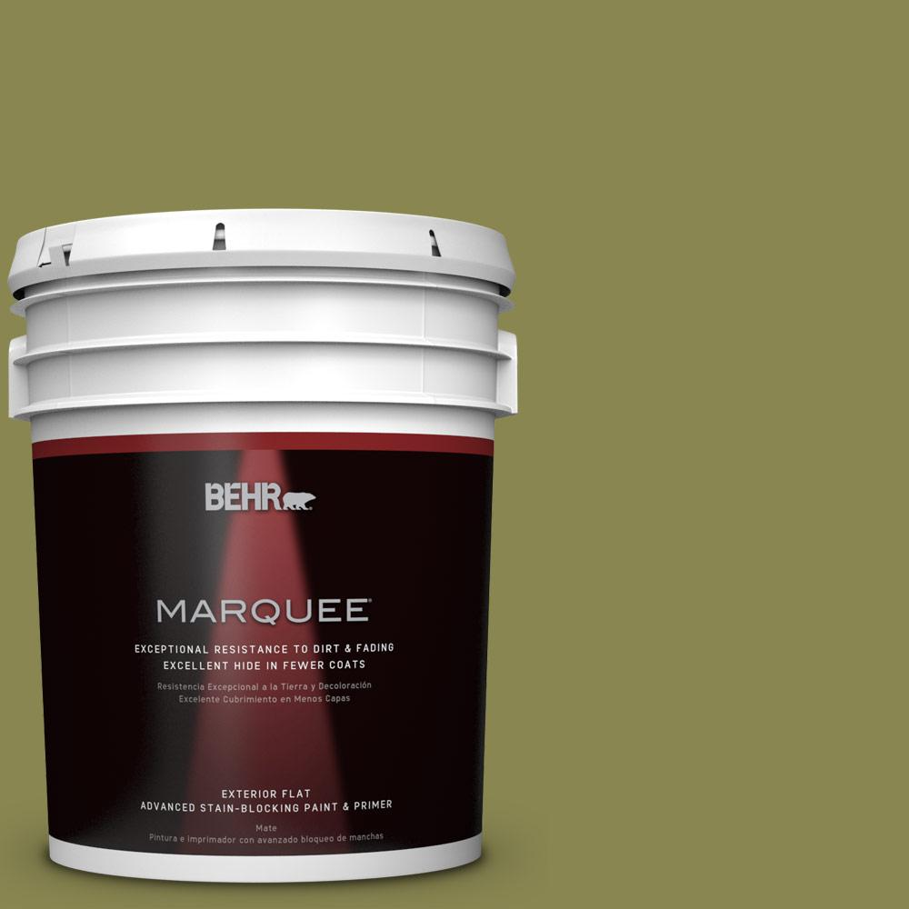 5 gal. #T15-18 Snap Pea Green Flat Exterior Paint