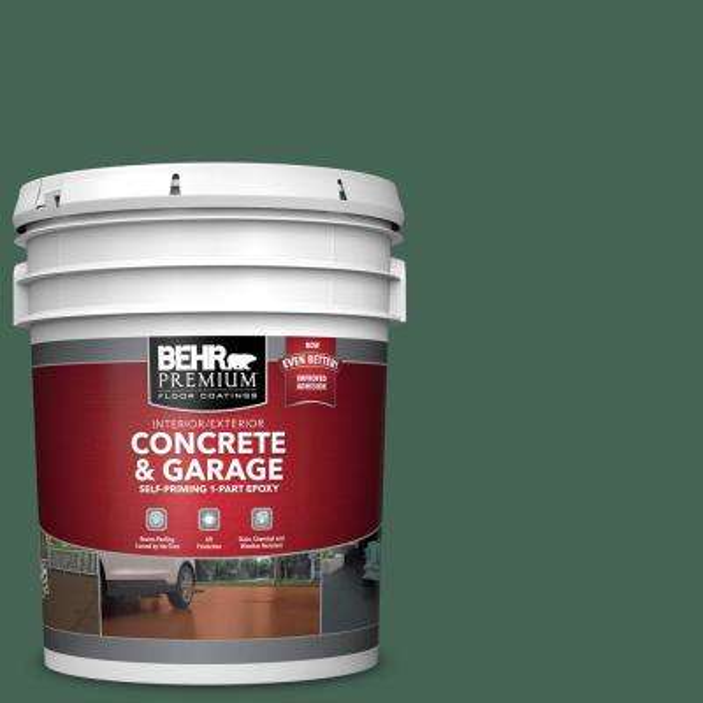5 gal. #PFC-40 Green Self-Priming 1-Part Epoxy Satin Interior/Exterior Concrete and Garage Floor Paint