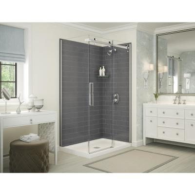 Utile Metro 32 in. x 48 in. x 83.5 in. Corner Shower Stall in Thunder Grey with Center Drain Base in White