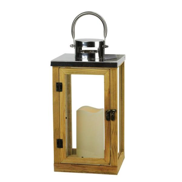 13.75 in. Country Rustic Wood and Glass Lantern with LED Flameless Pillar Candle with Timer