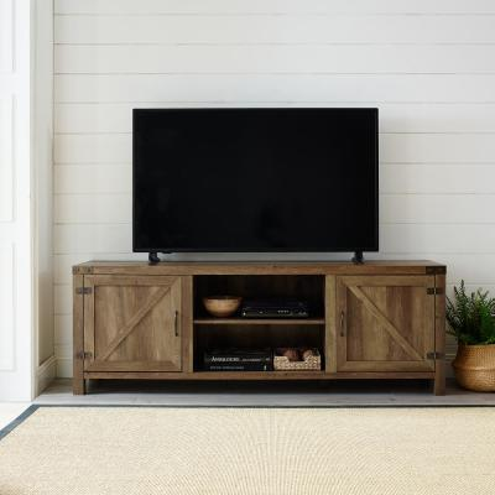 70 in. Rustic Oak Composite TV Console 75 in. with Doors