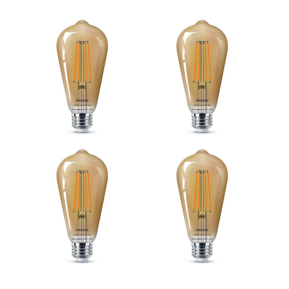 Philips Amber ST19 LED 40-Watt Equivalent Dimmable Smart Wi-Fi Wiz Connected Wireless Light Bulb (4-Pack)