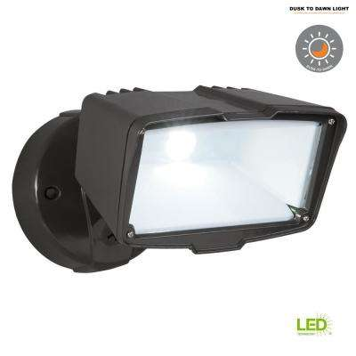 Bronze Outdoor Integrated LED Large-Head Security Flood Light with Dusk to Dawn Photocell, 3100 Lumens, 5000K Daylight