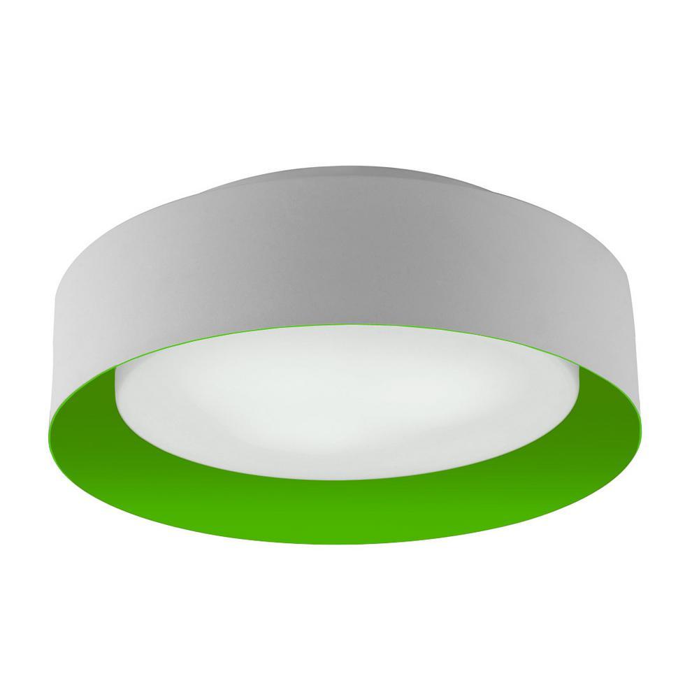 Lynch White and Green 15.75 in. 3-Light Flush Mount