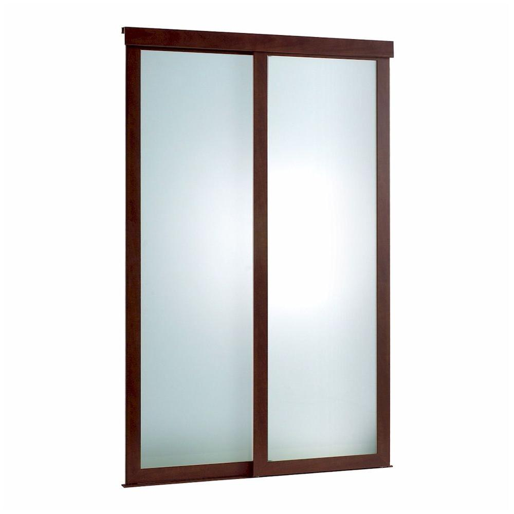 Pinecroft 60 in x 80 in frosted glass fusion frosted choco frame frosted 2 panel glass fusion chocolate frame aluminum sliding door planetlyrics Image collections
