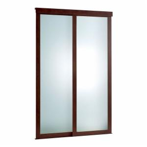 Frosted 2 Panel Glass Fusion Chocolate Frame Aluminum