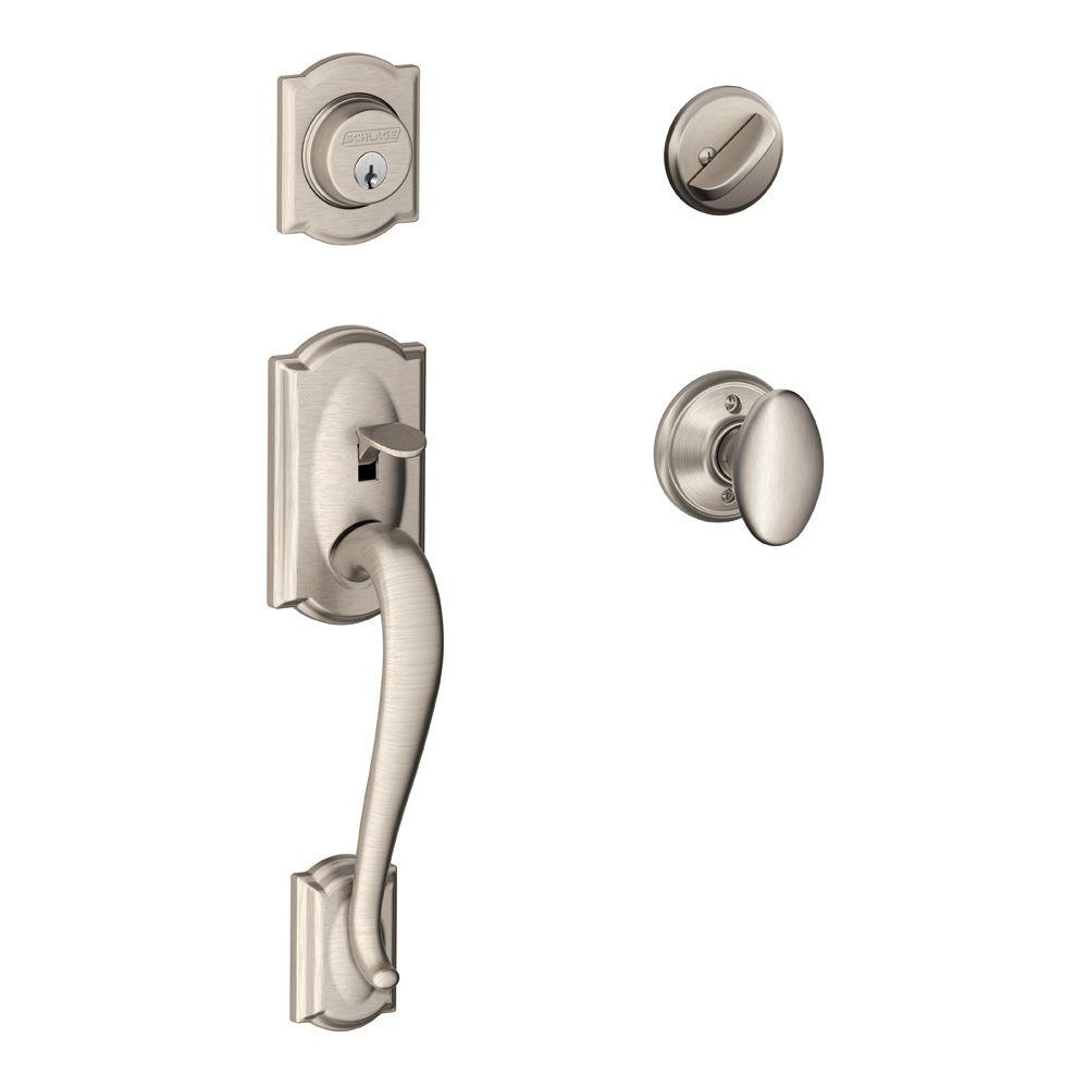 Schlage Camelot Single Cylinder Satin Nickel Handleset With Siena Knob
