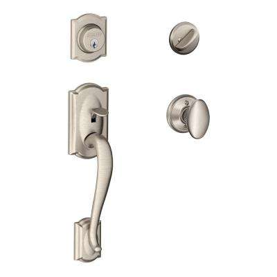 Camelot Satin Nickel Single Cylinder Deadbolt with Siena Knob Door Handleset