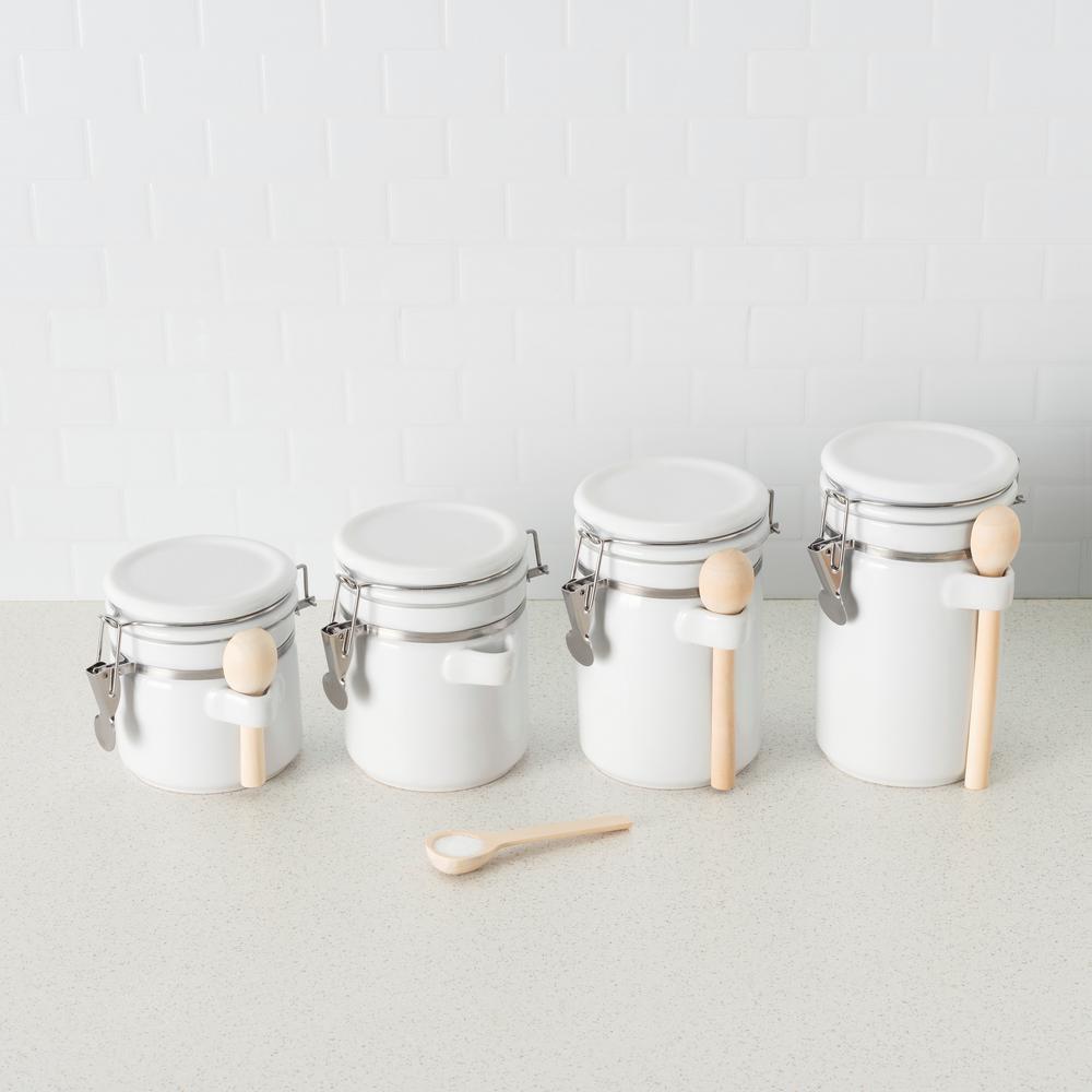 Home Basics 4PC Ceramic Canister Set W//Spoon