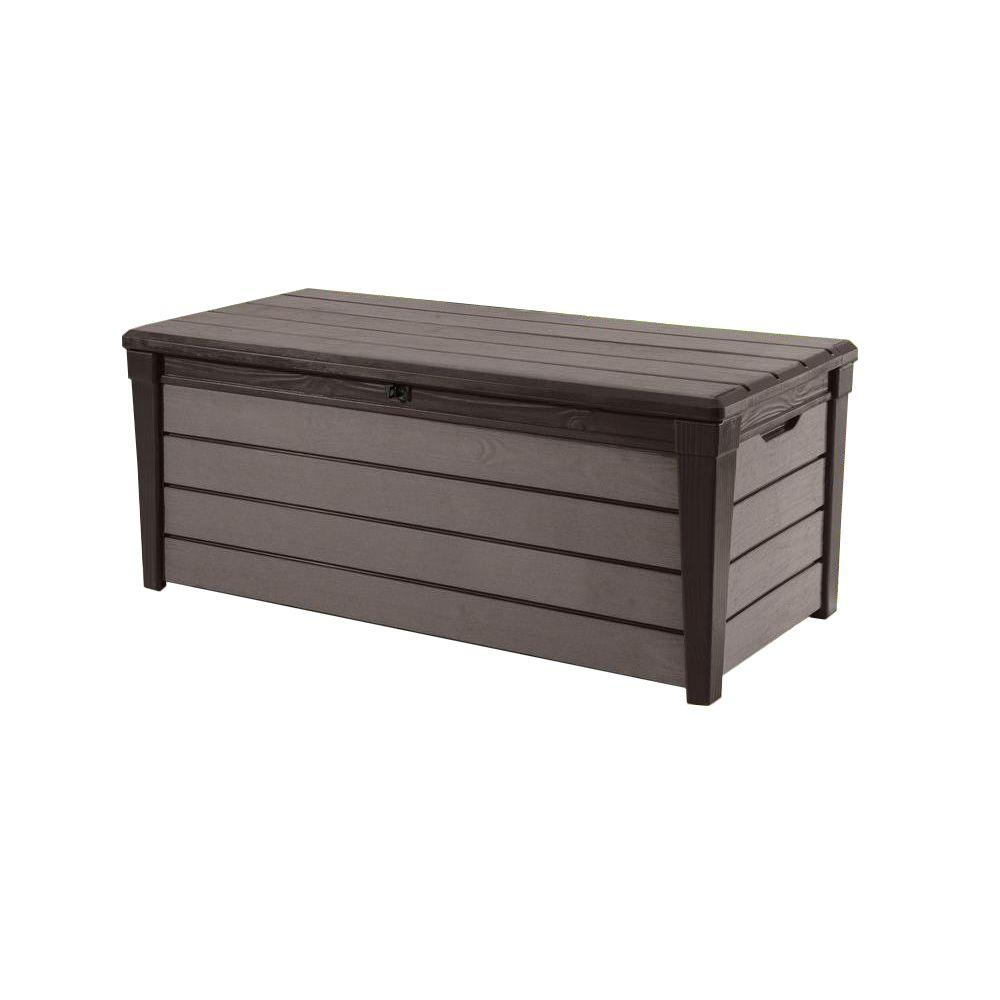 Large Storage Bench For Outdoor And Indoor Space Brushwood 120 Gal. Resin Deck Box