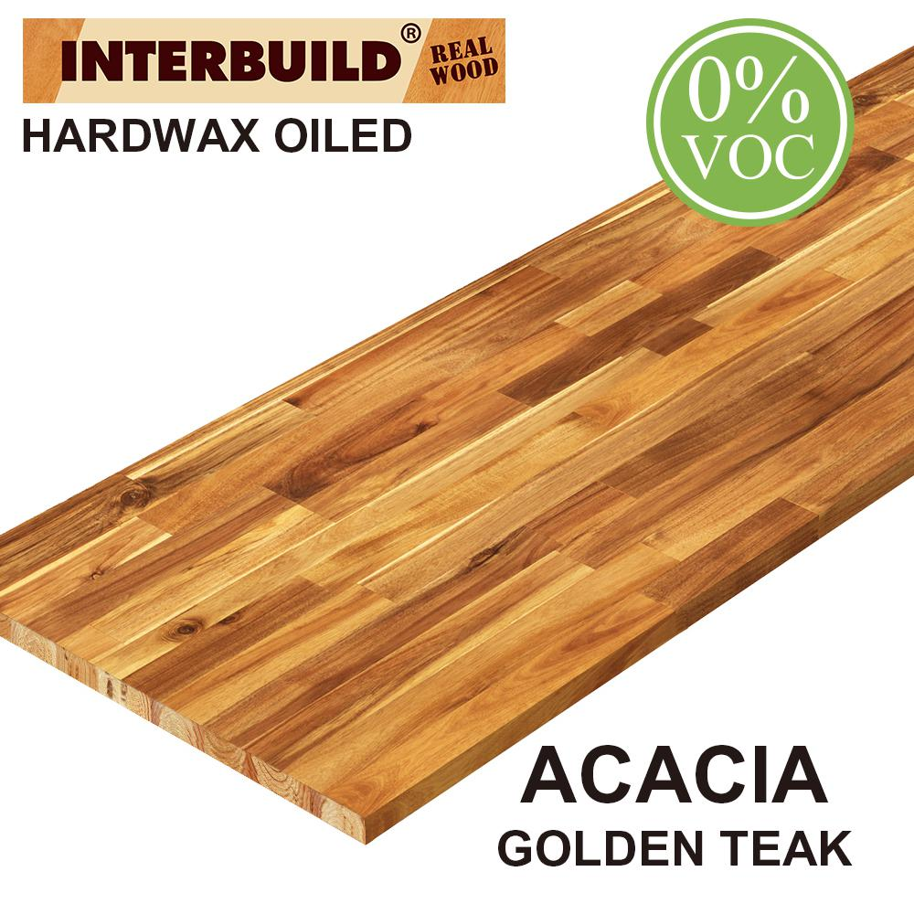 Interbuild Acacia 6 Ft L X 25 In D X 1 5 In T Butcher Block Countertop In Golden Teak Stain Pnl03004 The Home Depot