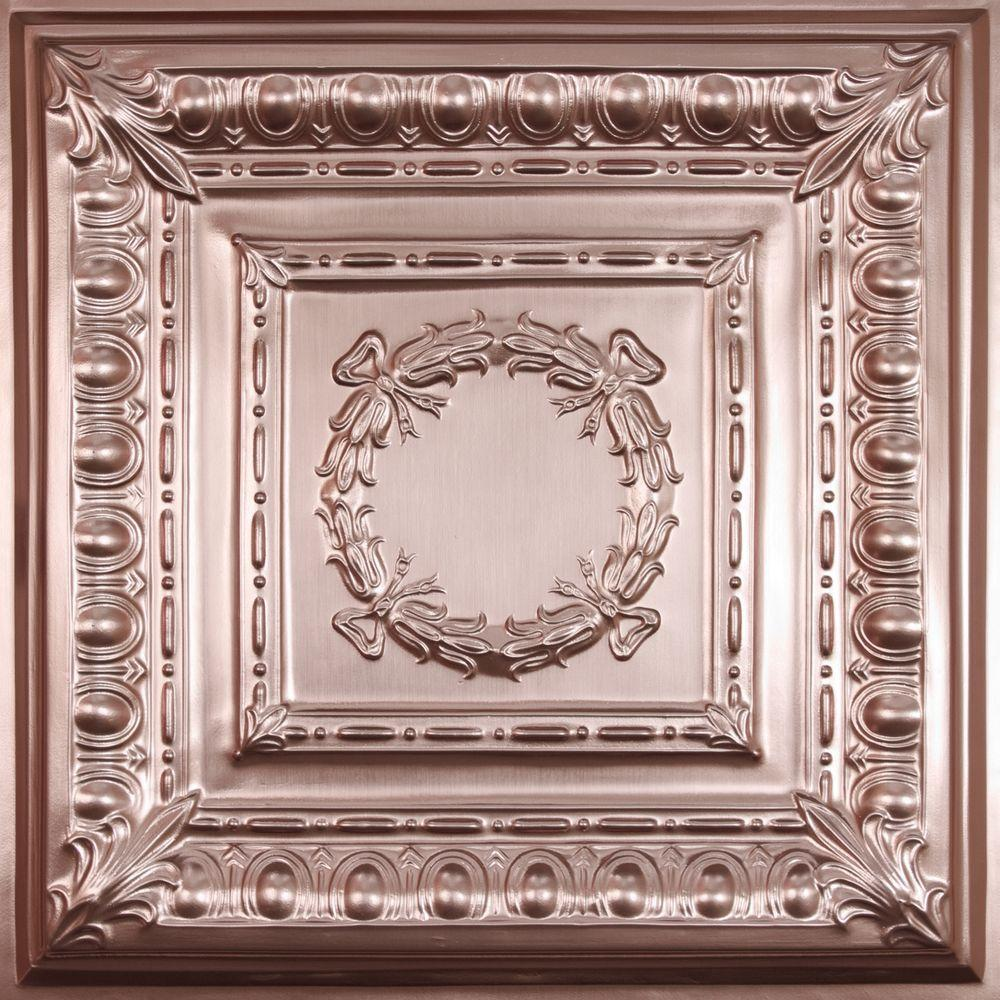 Ceilume Empire Faux Copper 2 Ft X 2 Ft Lay In Or Glue Up Ceiling Panel Case Of 6 V3 Emp 22cbr 6 The Home Depot