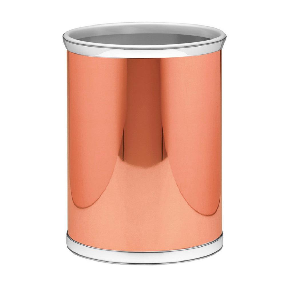 Mylar 13 qt. Polished Copper and Chrome Round Waste Basket