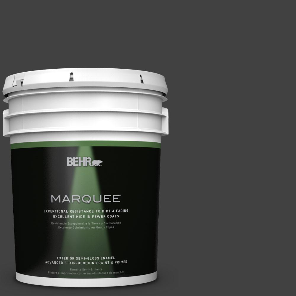 BEHR MARQUEE 5-gal. #BNC-38 Spade Black Semi-Gloss Enamel Exterior Paint
