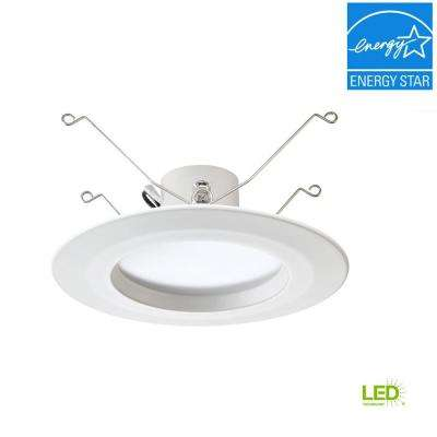 Standard Retrofit 5 in./6 in. White Recessed Housing LED Trim Warm Ceiling Light with 91 CRI, 3000K
