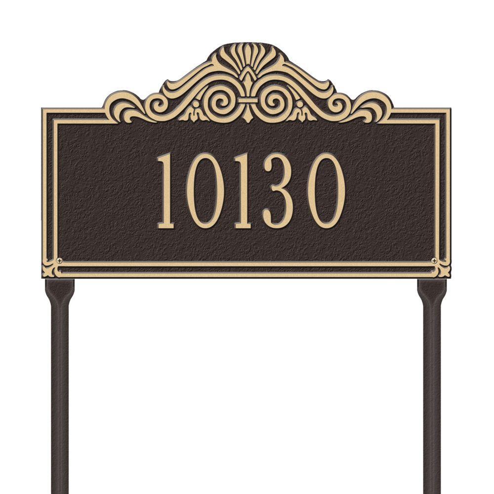 Whitehall Products Villa Nova Rectangular Bronze/Gold Standard Lawn One Line Address Plaque