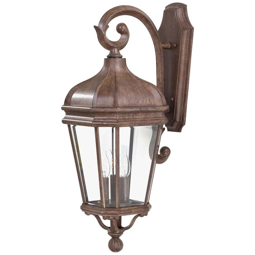 Harrison 3-Light Vintage Rust Outdoor Wall Mount Lantern