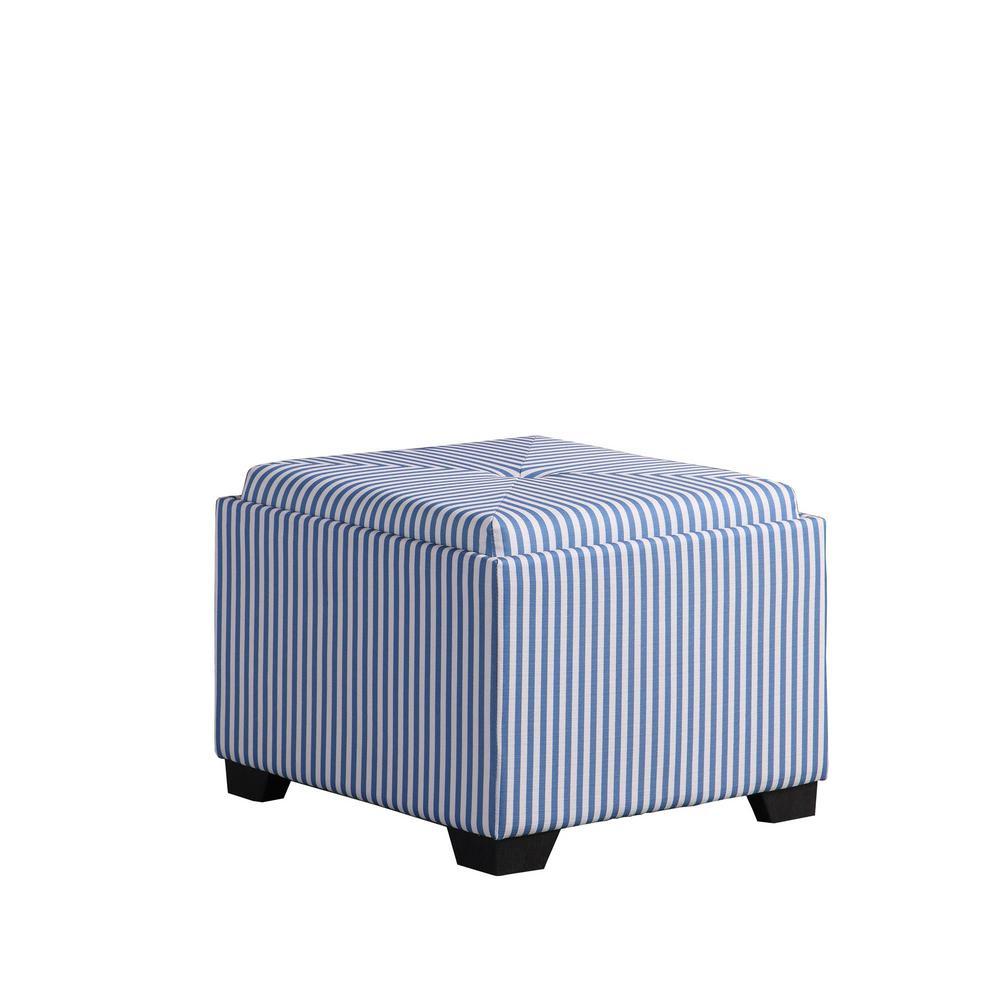 Blue Stripes Single Tufted Storage Ottoman
