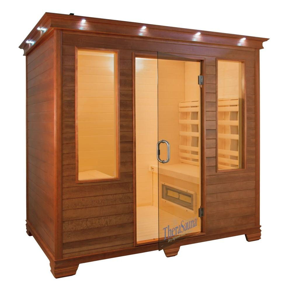 TheraSauna 4-Person Face to Face Infrared Health Sauna with MPS Touchview Control, Aspen Wood and 12 TheraMitter Heaters
