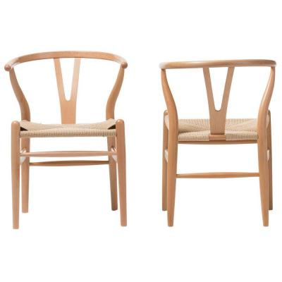 Wishbone Mid-Century Light Brown Finish Wood Chair Set (2-Piece)