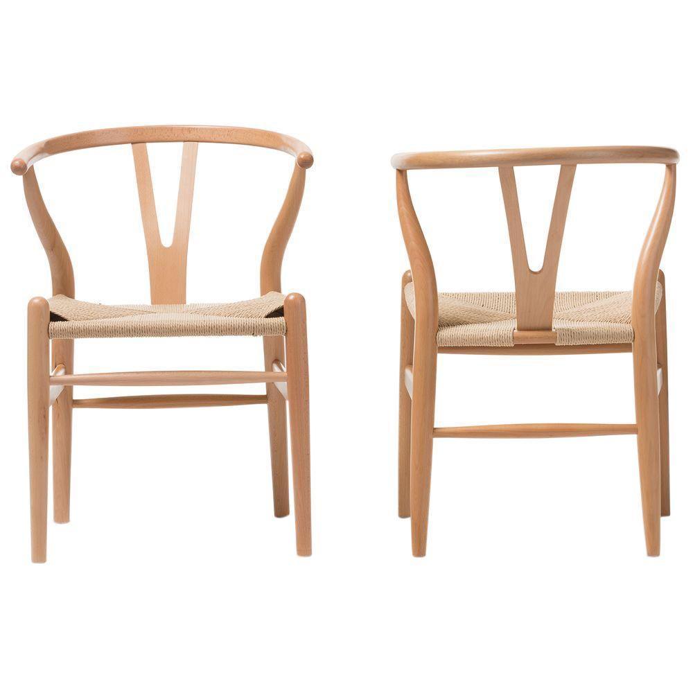 Wishbone Mid Century Light Brown Finish Wood Chair Set 2 Piece