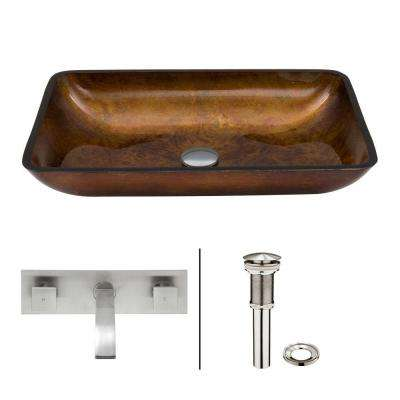 Rectangular Glass Vessel Bathroom Sink in Russet with Wall-Mount Faucet Set in Brushed Nickel
