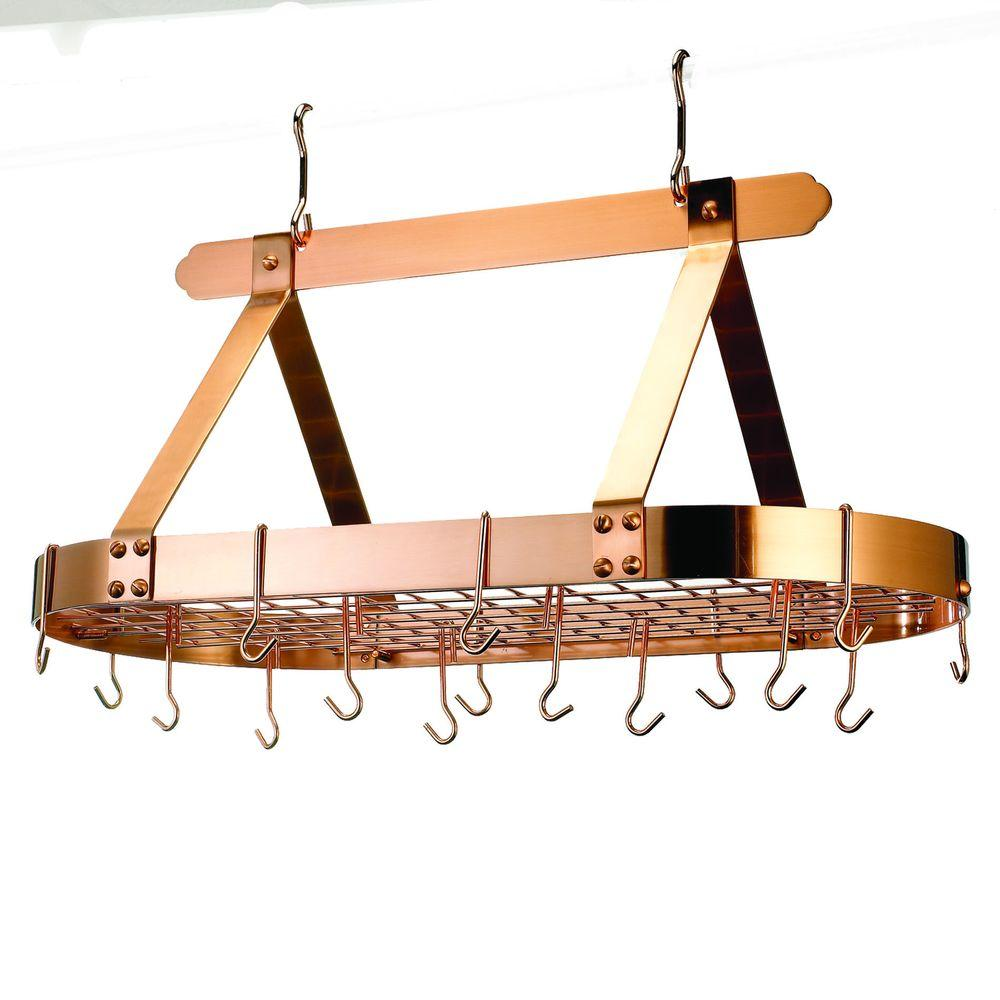 Old Dutch 36 in. x 19 in. x 15.5 in. Oval Satin Copper Pot Rack with Grid (16 Hooks)