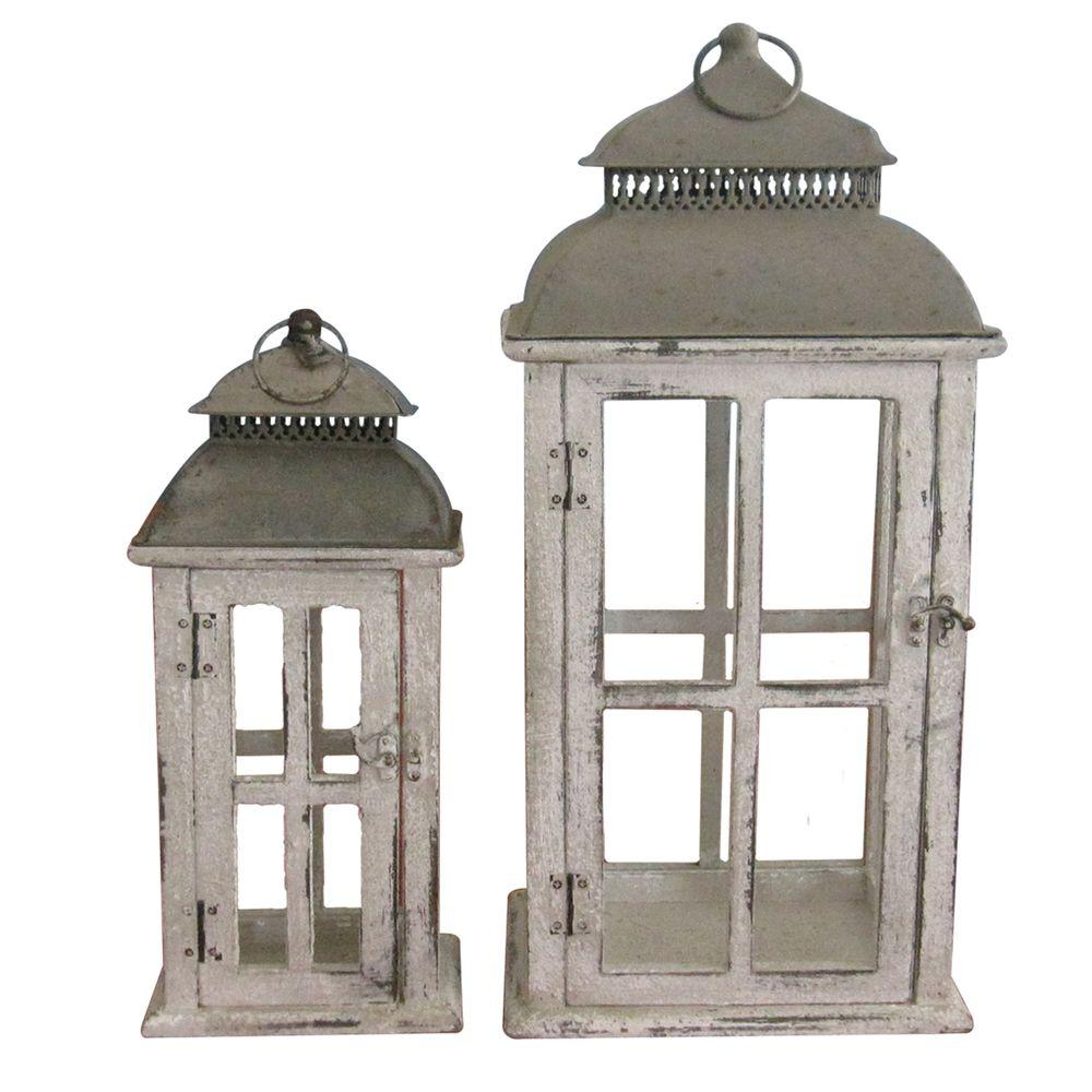 null Square Distressed Finish Wooden Battery-Powered Candle Lantern (Set of 2)-DISCONTINUED