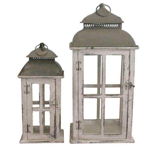 undefined Square Distressed Finish Wooden Battery-Powered Candle Lantern (Set of 2)-DISCONTINUED
