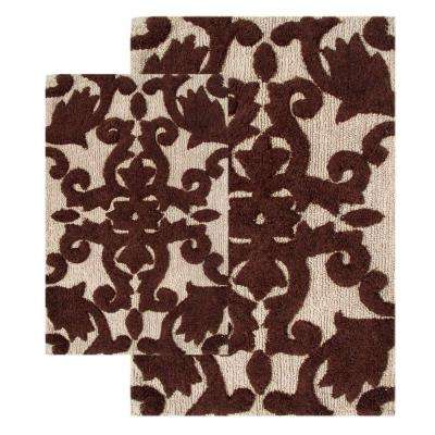 20 in. x 32 in. and 23 in. x 39 in. 2-Piece Iron Gate Bath Rug Set in Linen and Chocolate