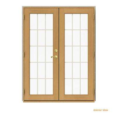 60 in. x 80 in. W-2500 Desert Sand Clad Wood Right-Hand 15 Lite French Patio Door w/Stained Interior