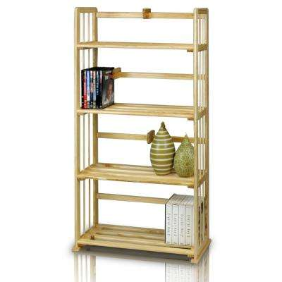 Pine Natural Color Solid Wood 4-Shelf Open Bookcase