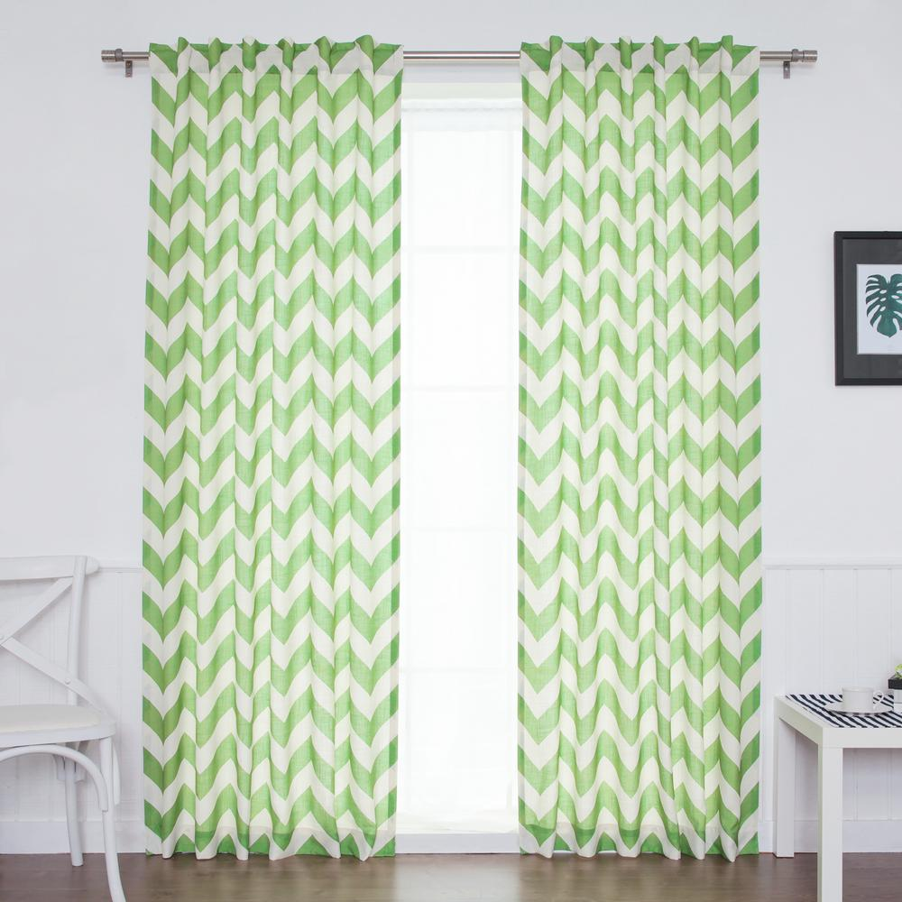 84 in. L Green Faux Linen Chevron Curtain (2-Pack)