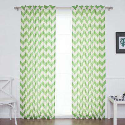 96 in. L Green Faux Linen Chevron Curtain (2-Pack)