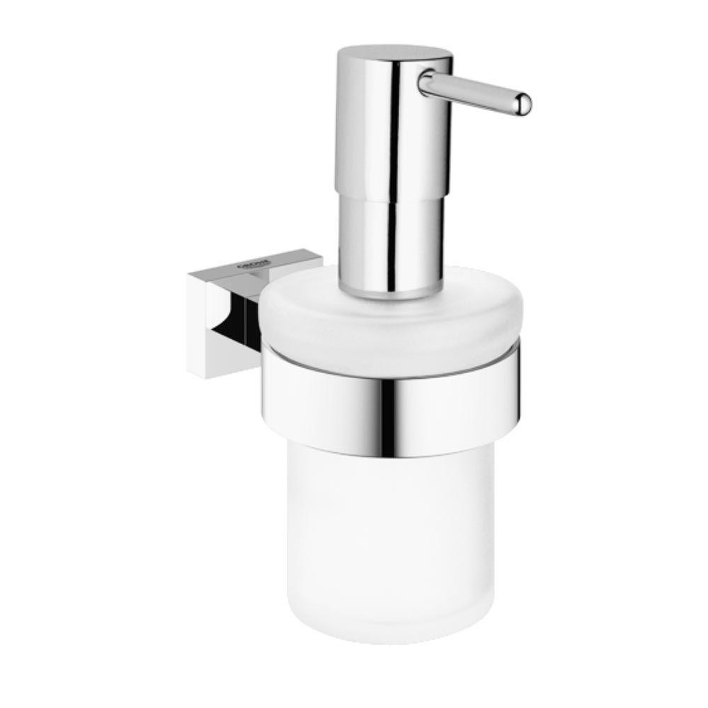 Essentials Cube Wall-Mounted Soap Dispenser with Holder in StarLight Chrome