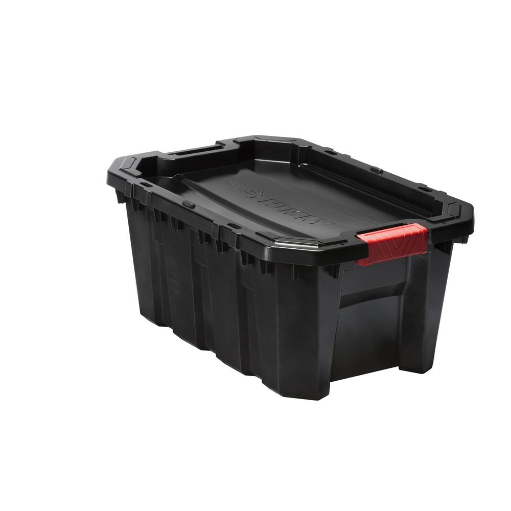 Husky 15 Gal Latch and Stack Tote in Black 206130 The Home Depot