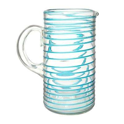 Meridia 64 oz. Clear-Aqua Glass Pitcher with Embossed Swirl